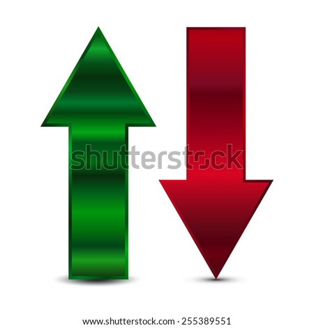 Vector illustration of Green and red arrow - stock vector
