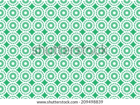 Vector illustration of green and white seamless repeated pattern for wallpaper - stock vector
