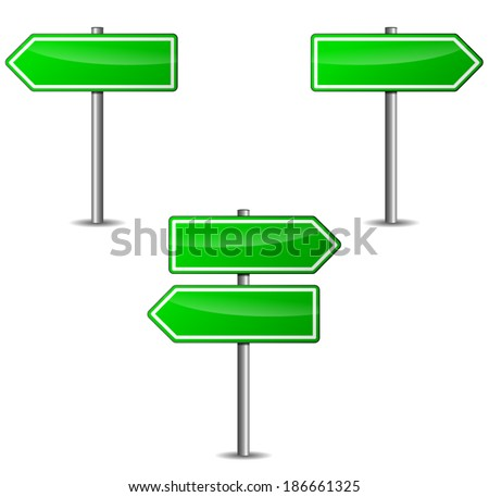 Vector illustration of green arrows sign on white background - stock vector