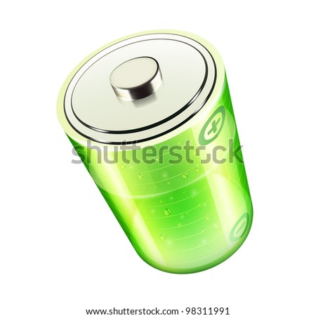 Vector illustration of green battery icon for web design isolated on the white background - stock vector