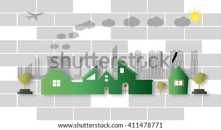 vector illustration of green building and building with industry