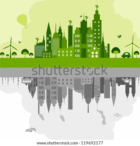 vector illustration of green building with windmill and dirty building with industry