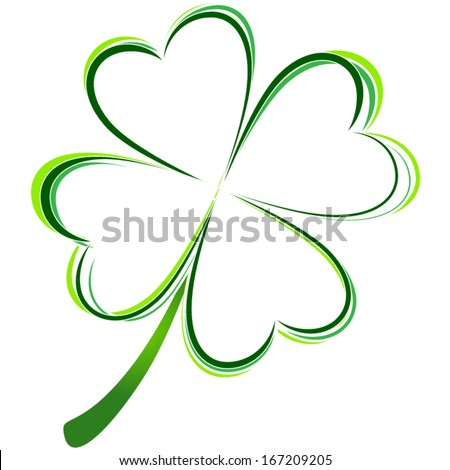 vector illustration of green clover picture - stock vector