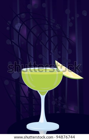 Vector illustration of green cocktail on night disco background