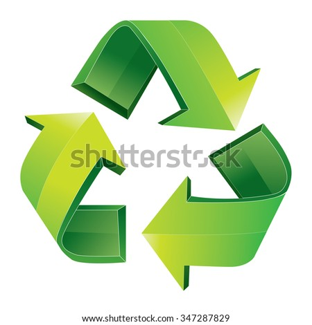 Vector illustration of green 3D recycle symbol isolated on white - stock vector
