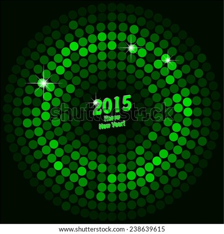Vector illustration of Green discoball on a black background. - stock vector