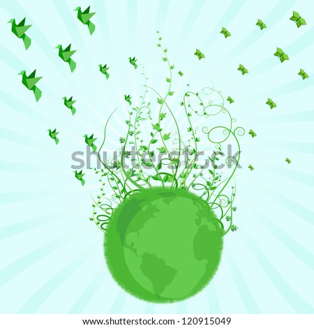 vector illustration of green Earth concept with plant and flying bird