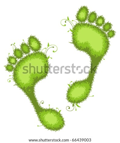 Vector illustration of green Eco footprints. - stock vector