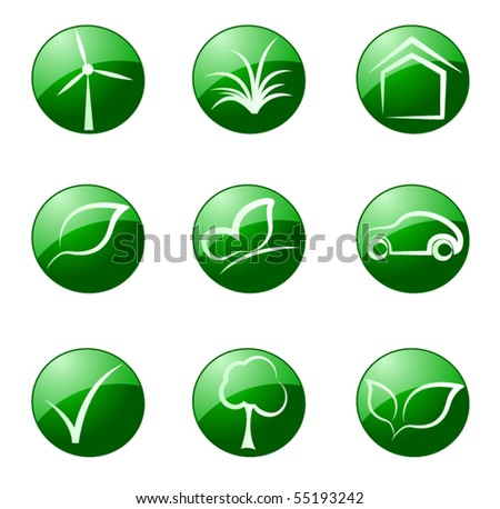 Vector illustration of green ecology icon - stock vector
