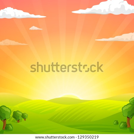 Vector Illustration of Green Fields And Sunrise Sky - stock vector