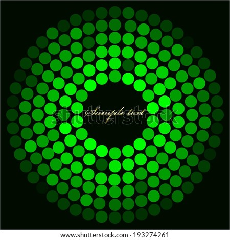 Vector illustration of  Green globe on black background with gold text - stock vector