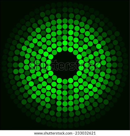 Vector illustration of Green glowing ball on a black background - stock vector