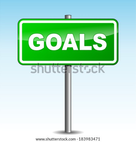 Vector illustration of green goals signpost on sky background - stock vector