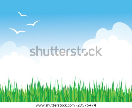 Vector illustration of green grass against a blue sky with fluffy clouds and some birds - stock vector