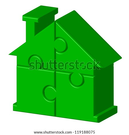 Vector illustration of green house from puzzle - stock vector