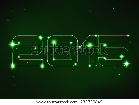 Vector illustration of green number 2015 in style of constellation   - stock vector