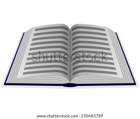 Vector illustration of green opened book with line - stock vector