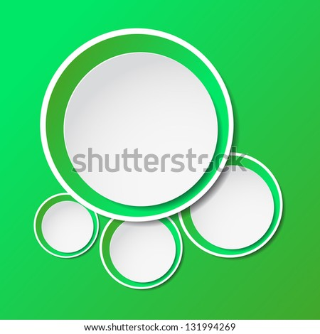 Vector illustration of green paper round bubble