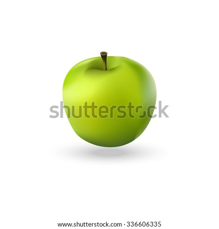 Vector illustration of green realistic apple. Green apple icon. - stock vector