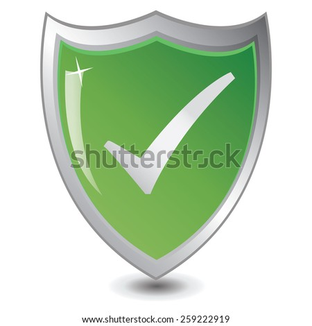 Vector illustration of Green shield : Trusted Save concept.  - stock vector