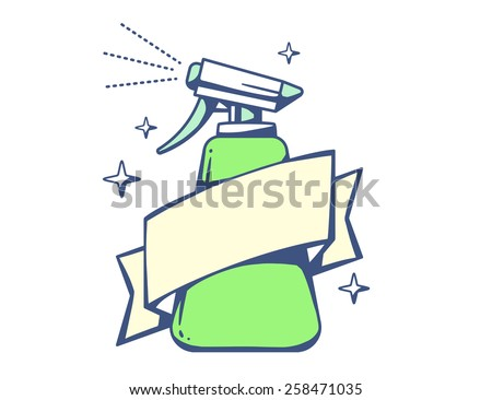 Vector illustration of green spray pistol with ribbon on light background. Colorful line art design for web, site, advertising, banner, poster, board, poster and print. - stock vector