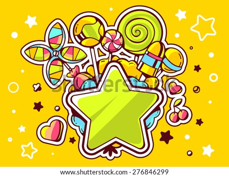 Vector illustration of green star and pile of sweets  on yellow background with star and dot. Hand draw line art design for web, site, advertising, banner, poster, board and print.   - stock vector