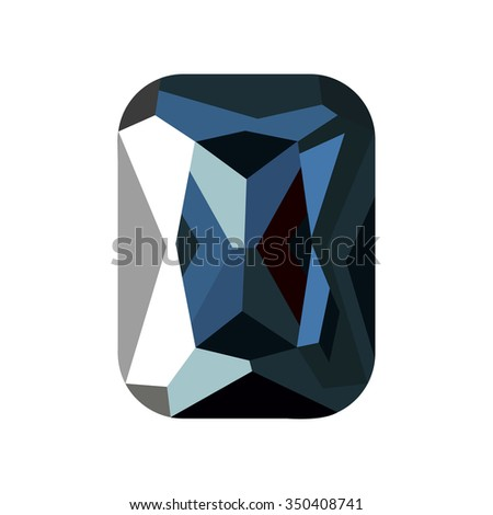 Vector illustration of green stone, sapphire isolated over white background.