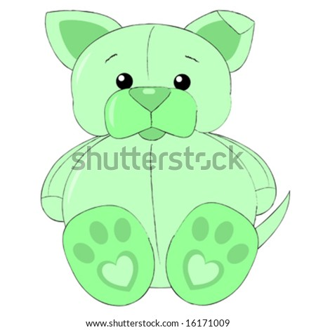 Vector illustration of green stuffed puppy.