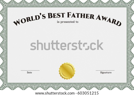 Vector certificate template gold seal easy stock vector 58815595 vector illustration of green worlds best father award template white yadclub Images