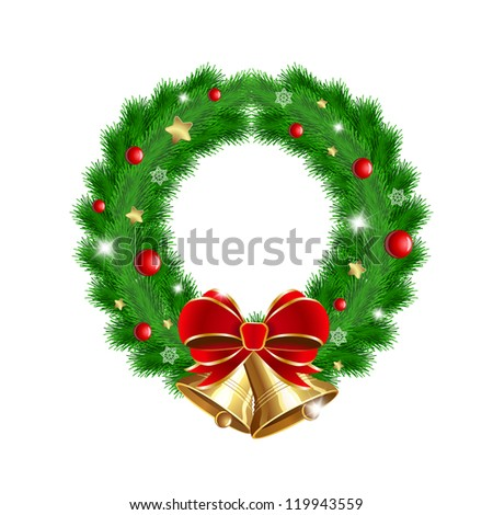 Vector illustration of green wreath with red berries, Christmas decoration and two bells - stock vector