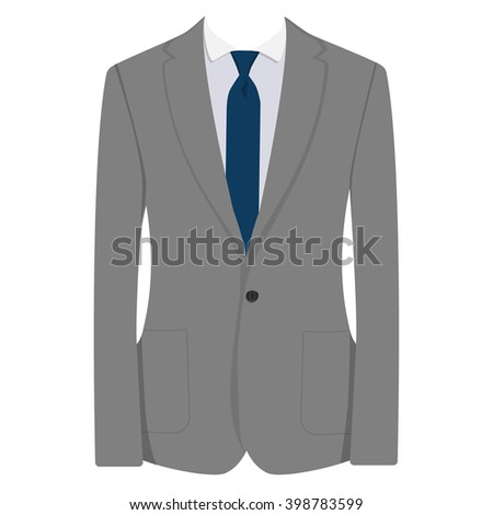 Vector illustration of grey man suit with blue tie and white shirt isolated on white background. Business suit, business, mens suit, man in suit