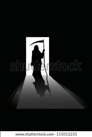 vector illustration of Grim reaper silhouette standing in a doorway - stock vector