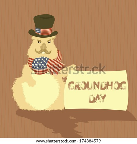 Vector illustration of Groundhog Day - stock vector