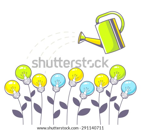 Vector illustration of growing color light bulbs and green watering can on white background. Hand draw line art design for web, site, advertising, banner, poster, board and print.   - stock vector