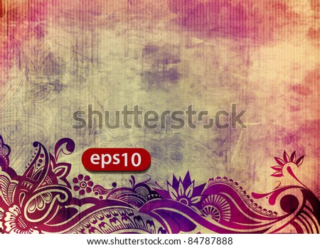 Vector illustration of grunge floral background. - stock vector