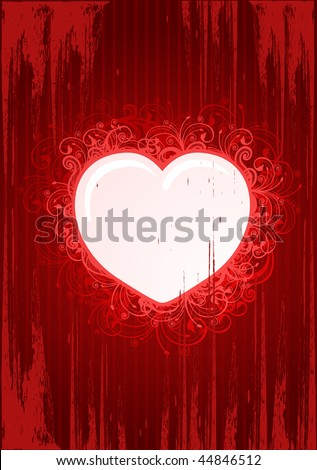 Vector illustration of grunge floral heart frame for Valentines Day - stock vector