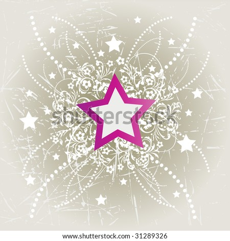 Vector Illustration of Grunge floral star