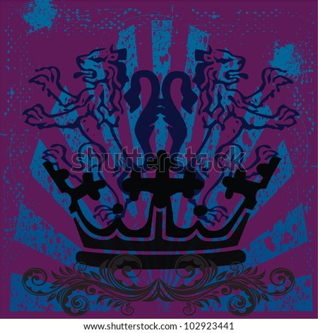 vector illustration of grunge lions with a crown and swirls - stock vector