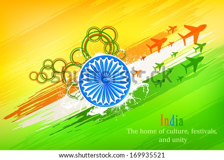 vector illustration of grungy Indian Flag with Ashoka Chakra and flying jet - stock vector