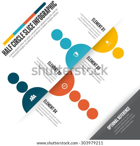 Vector illustration of half circle slice infographic design element. - stock vector