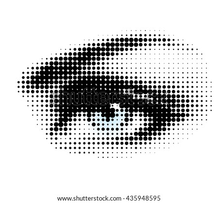 Vector illustration of halftone human eye on white background.