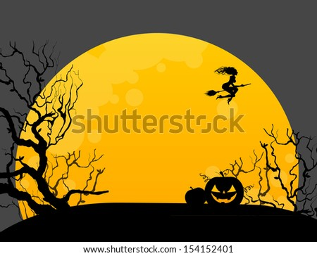 Vector illustration of Halloween background with witch - stock vector