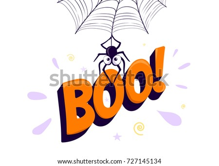Vector Illustration Halloween Boo Cartoon Spider Stock Vector ...
