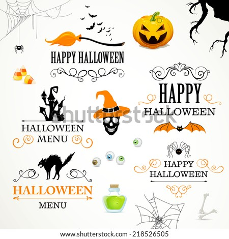 Vector Illustration of Halloween Design Elements - stock vector
