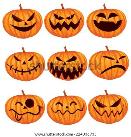 Vector illustration of halloween pumpkin Jack o Lantern set - stock vector