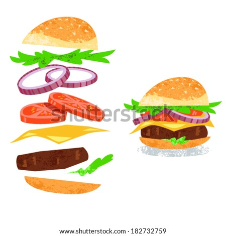 Vector illustration of Hamburger ingredients isolated on white. Exploded burger. - stock vector