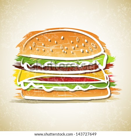 Vector illustration of hamburger on grunge background - stock vector