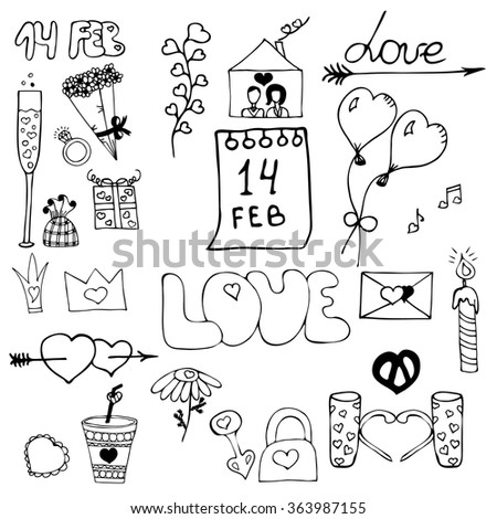 Vector illustration of hand drawn design elements for St. Valentine's day.