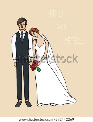 Vector illustration of hand drawn happy bride and groom holding hands.