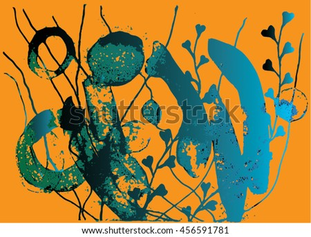 Vector illustration of hand drawn ink distressed grunge floral pattern. Abstract painted backdrop, background. Orange, blue, black. - stock vector